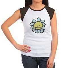 Sad Blue Flower Cartoon Women's Cap Sleeve T-Shirt
