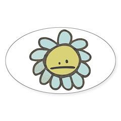 Sad Blue Flower Cartoon Oval Sticker (50 pk)