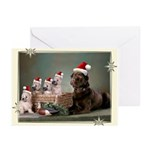 Chocolate Lab-Cairn Terrier Puppies Christmas Card