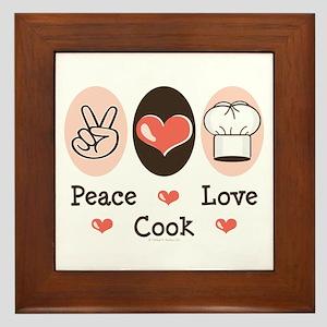 Peace Love Cook Chef Framed Tile