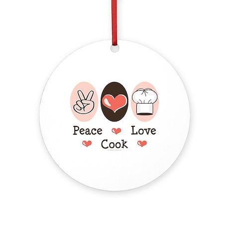 Peace Love Cook Chef Ornament (Round)