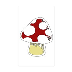 Funky Cartoon Mushroom Rectangle Decal