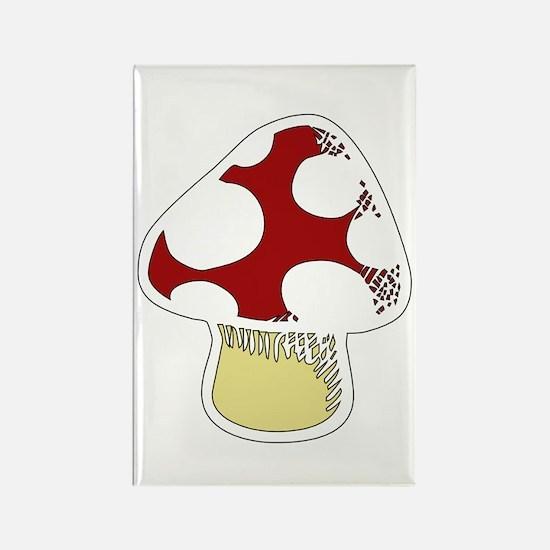 Funky Cartoon Mushroom Rectangle Magnet