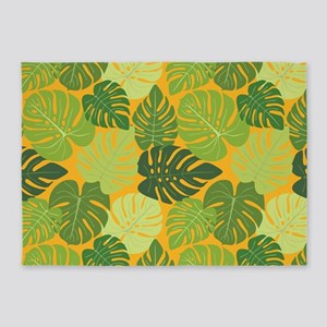 Monstera Leaves (yellow) 5'x7'Area Rug