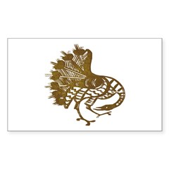 Distressed Tribal Peacock Rectangle Sticker 50 pk