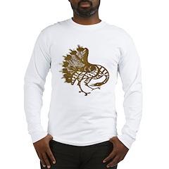 Distressed Tribal Peacock Long Sleeve T-Shirt