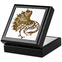 Distressed Tribal Peacock Keepsake Box