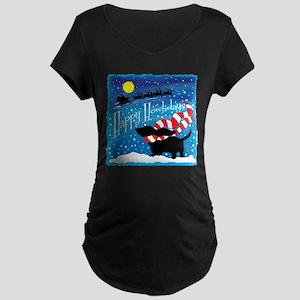 Basset Scarf Maternity Dark T-Shirt