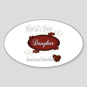 Cherished Daughter Oval Sticker