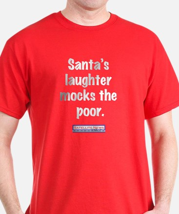 Santa's laughter mocks the poor.