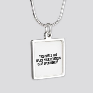 No Religious Crap Silver Square Necklace