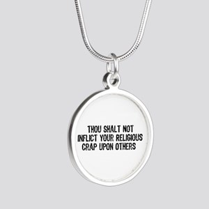 No Religious Crap Silver Round Necklace