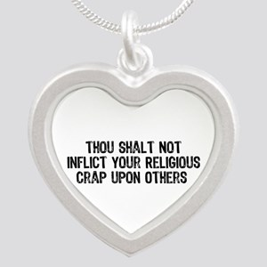 No Religious Crap Silver Heart Necklace