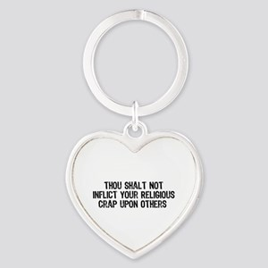 No Religious Crap Heart Keychain