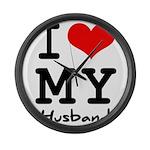 I love my husband Large Wall Clock