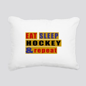 Eat Sleep Hockey And Rep Rectangular Canvas Pillow