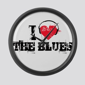 I love the blues Large Wall Clock