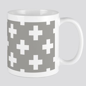 Grey Plus Sign Pattern Mug
