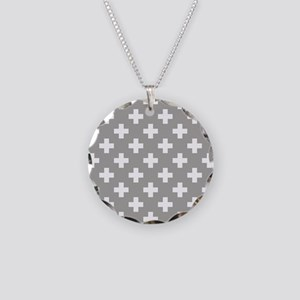 Grey Plus Sign Pattern Necklace Circle Charm