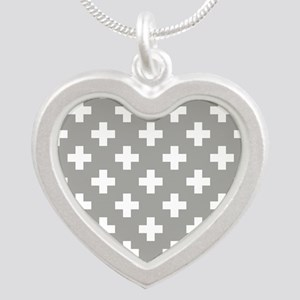 Grey Plus Sign Pattern Silver Heart Necklace
