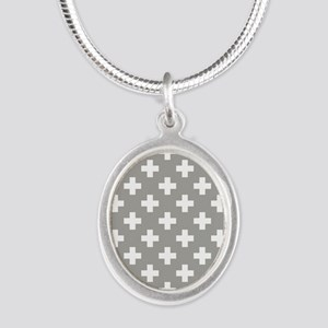 Grey Plus Sign Pattern Silver Oval Necklace