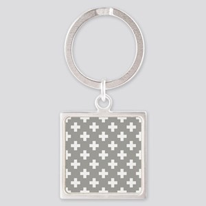 Grey Plus Sign Pattern Square Keychain