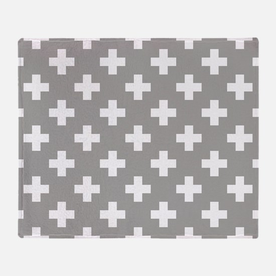 Grey Plus Sign Pattern Throw Blanket
