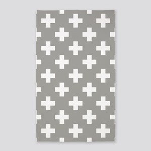 Grey Plus Sign Pattern Area Rug