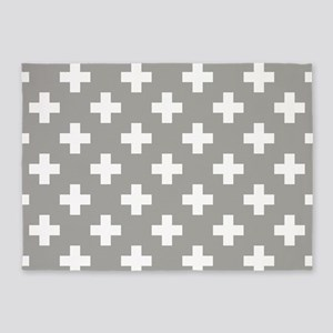 Grey Plus Sign Pattern 5'x7'Area Rug