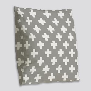 Grey Plus Sign Pattern Burlap Throw Pillow