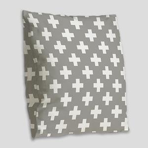 Grey Plus Sign Pattern Burlap Throw Pillow