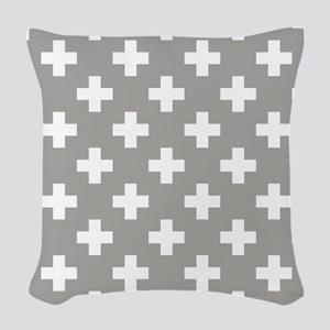 Grey Plus Sign Pattern Woven Throw Pillow