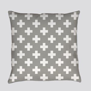 Grey Plus Sign Pattern Everyday Pillow