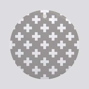 Grey Plus Sign Pattern Round Ornament