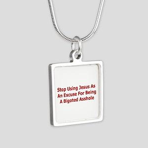 No Jesus Excuses Silver Square Necklace