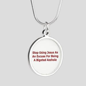 No Jesus Excuses Silver Round Necklace