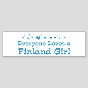 Loves Finland Girl Bumper Sticker