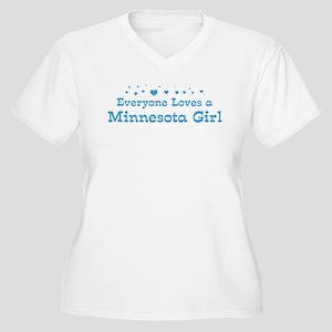 Loves Minnesota Girl Women's Plus Size V-Neck T-Sh