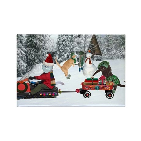 Sandy Claws delivering gifts Rectangle Magnet