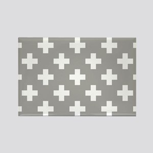 Grey Plus Sign Pattern Magnets