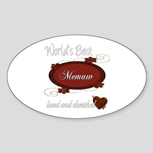Cherished Memaw Oval Sticker