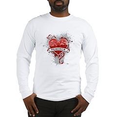 Heart Peacock Long Sleeve T-Shirt