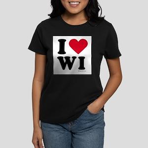 I Love Wisconsin ~ Women's Dark T-Shirt