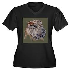 Shar Pei Women's Plus Size V-Neck Dark T-Shirt