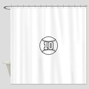 10 Baseball Raster 3 color TAS Shower Curtain