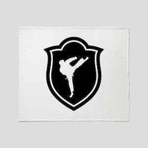 Karate Karateka Fight Fighter Martia Throw Blanket