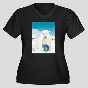 Polar Bear Holding Earth Women's Plus Size V-Neck