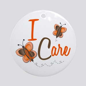 I Care 1 Butterfly 2 ORANGE Ornament (Round)