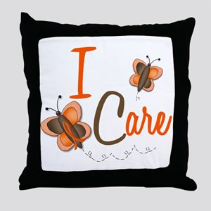 I Care 1 Butterfly 2 ORANGE Throw Pillow