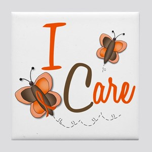 I Care 1 Butterfly 2 ORANGE Tile Coaster